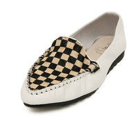 Casual Women's Flat Shoes With Checked and Splice Design