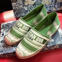 DIOR CD stripe stitching color canvas embroidered fisherman shoes ladies lazy shoes Green