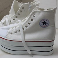 Fashion Women's school Canvas high heel Platform Sneakers Lace up shoes#205