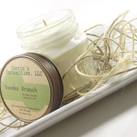 Soy Candle, Sunday Brunch scented Soy Candle -- 8 ounce Mason Jar