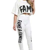 Loose Letter Print Crop Top with Skinny Pants Two Pieces Set