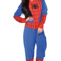 Adult Spiderman One Piece Pajama- Party City