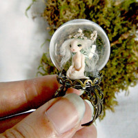 Tiny fairy art ring - OOAK flower pixie under a glass dome