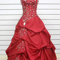 2012 Spring Style Ball Gown Sweetheart Ruffles Sleeveless Floor-length Taffeta Prom Dresses / Evening Dresses
