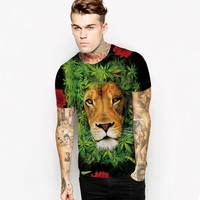3d Lion Print Mens Green Sport Tees Short Sleeve Tiger Print Women Running Shirt Summer Red Clothes