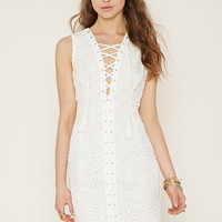 Lace-Up Crochet Bodycon Dress   Forever 21 - 2000152877