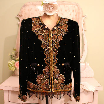 Black Velvet Jacket,  Beaded Gypsy Jacket, Vintage Inspired Boho jacket,  Beaded Fringe Bolero, Hippie Chic Clothing,  Women's Size Large