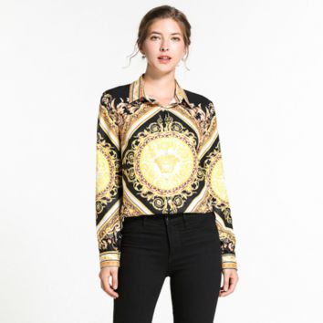 Versace Women Long Sleeved Lapel Shirt Top