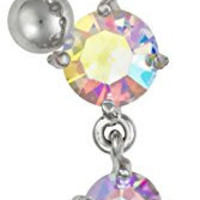 14g Sexy Reverse Mount Dangle Belly Button Ring with Cascade of Aurora Borealis Crystal Gems