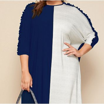 New splicing short-sleeved plus size fashion hedging style long dress