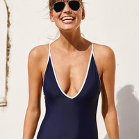 Aerie Piping One Piece Swimsuit , Navy