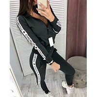 GIVENCHY Women Long Sleeve zipper Jacket Pants Two-Piece
