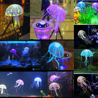 "Real Acuarios Hot Selling! 5.5"" Glowing Effect Artificial Jellyfish For Aquarium Fish Jar Tank Ornament Swim Decoration On Sale"