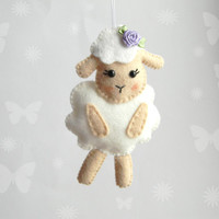 Felt sheep ornament, Cute sheep  toy,  Easter sheep, Lamb ornament, nursery decor,  Easter decoration, Baby shower, Easter ornaments