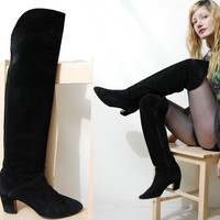 80s Vintage THIGH HIGH Boots Suede leather Tall Black Boho Bohemian Gypsy shoes 1980s vtg womens 38 / 7.5 8