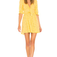 X REVOLVE For Love & Lemons Spring Eyelet Swing Dress in Yellow