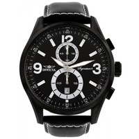 Invicta 7420 Men's Signature II Elegant Black Dial Leather Strap Chronograph Watch