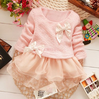 Baby Kids Children's Clothing Spring Winter Toddlers Princess Dresses Girls Lace Bowknot Dress SV007016|27701 Children's Clothing = 1945880324