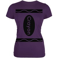 Halloween Crayon Costume Purple Juniors Soft T-Shirt