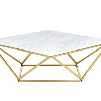 Mason Gold Coffee Table Genuine White Marble Top