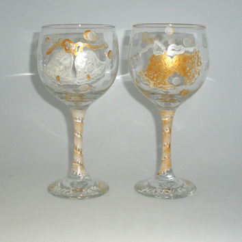 Painted Wine Glasses for 50th Wedding by PaintedDesignsByLona