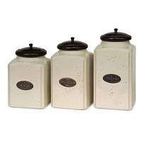 Unmissable Set of 3 Ivory Canisters by IMAX