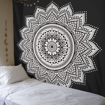 Black White Lotus Mandala Bohemian Wall Tapestry