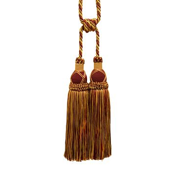 Beautiful Burgundy Red, Gold Curtain and Drapery Large Double Tassel Tieback / 10 inch tassel, 30 1/2 inch Spread (embrace), 3/8 inch Cord, Imperial II Collection Style# TBIC-2 Color: BURGUNDY GOLD - 1253