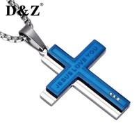 D&Z Religious Cross Necklaces Silver Chain Stainless Steel Layered JESUS LOVE YOU Cross Pendants Necklaces for Religious Jewelry