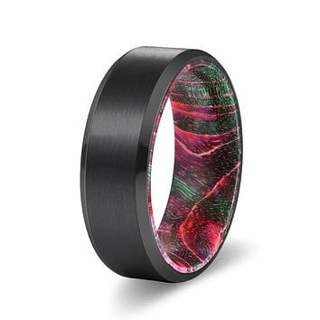ELKI Black Brushed Tungsten Carbide Ring with Green/Red Box Elder Wood Sleeve 8MM