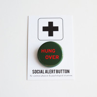 Hungover Hangover Button Badge Cocktail Party Favor