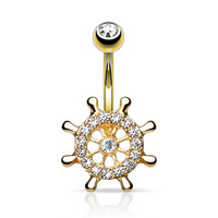 Ship Wheel Belly Ring Navel Ring Gold Body Jewelry 14ga Surgical Steel Yatch Wheel