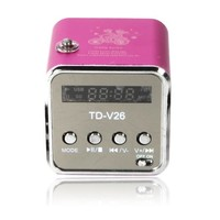 Ktaxon TD-V26 Mini USB Stereo Speaker Music Player Portable Clock FM Radio PC Mp3 Green/Rose Red/Blue/Red Optional - Walmart.com