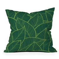 Arcturus Lime Green Leaves Throw Pillow