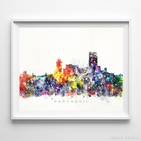 Guayaquil Ecuador Watercolor Skyline Wall Art Home Decor Poster UNFRAMED by Inkist Prints
