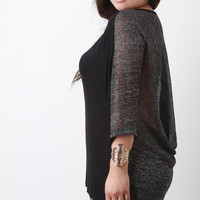 Back Contrast Loose Knit Dolman Sleeves High Low Top