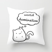 Cats World Domination Throw Pillow by Sherry Yuan