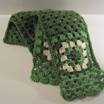 Crochet Granny Square Scarf, Perfect for St. Patrick's Day and ready to ship by CROriginals