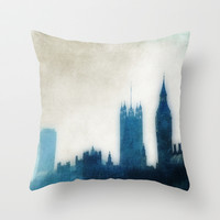 The Many Steepled London Sky Throw Pillow by Ally Coxon
