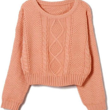 ROMWE | Thick Twisted Pink Jumper, The Latest Street Fashion