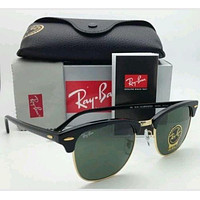 Ray Ban RB3016 W0365 51mm Black Plastic Frame Gold Wires Square Green Lens