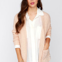Olive & Oak Warmest Wishes Peach Knit Cardigan Sweater