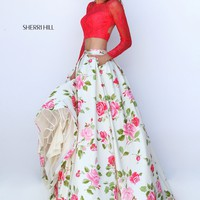 Sherri Hill 50261 Coral Lace Long Sleeve Two Piece Gown