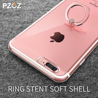 pzoz 2017 new Luxury transparent Soft TPU Silicon ring holder phone case for apple iphone 7 cover case for iphone7 7 plus capa