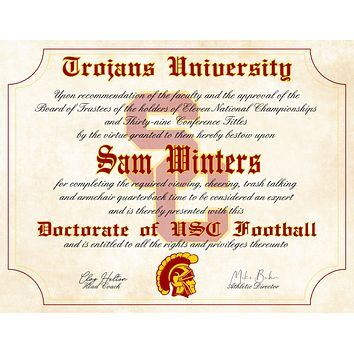 "USC Trojans Ultimate Football Fan Personalized Diploma - 8.5"" x 11"" Parchment Paper"