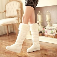 Warm Fur Snow Boots Women Platform Knee High Boots 4885