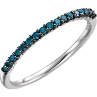 14kt White Gold 1/6 CTW Blue Diamond Stackable Anniversary Ring