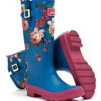 Invite Floral Maya Blue Wellyprint Womens Print Rain Boot Wellies | Joules US