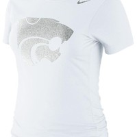 Kansas State Wildcats T-Shirt- Womens White Foundation Glitter Powercat T-Shirt