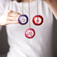 Music Note Pendant - Musician Gift- Sequin jewelry